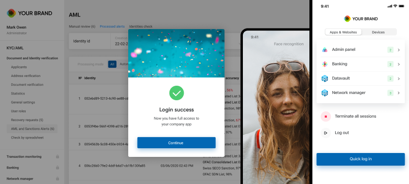 Biometric login / Passwordless authentication